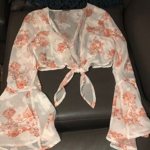 Sheer floral cropped long sleeve shirt